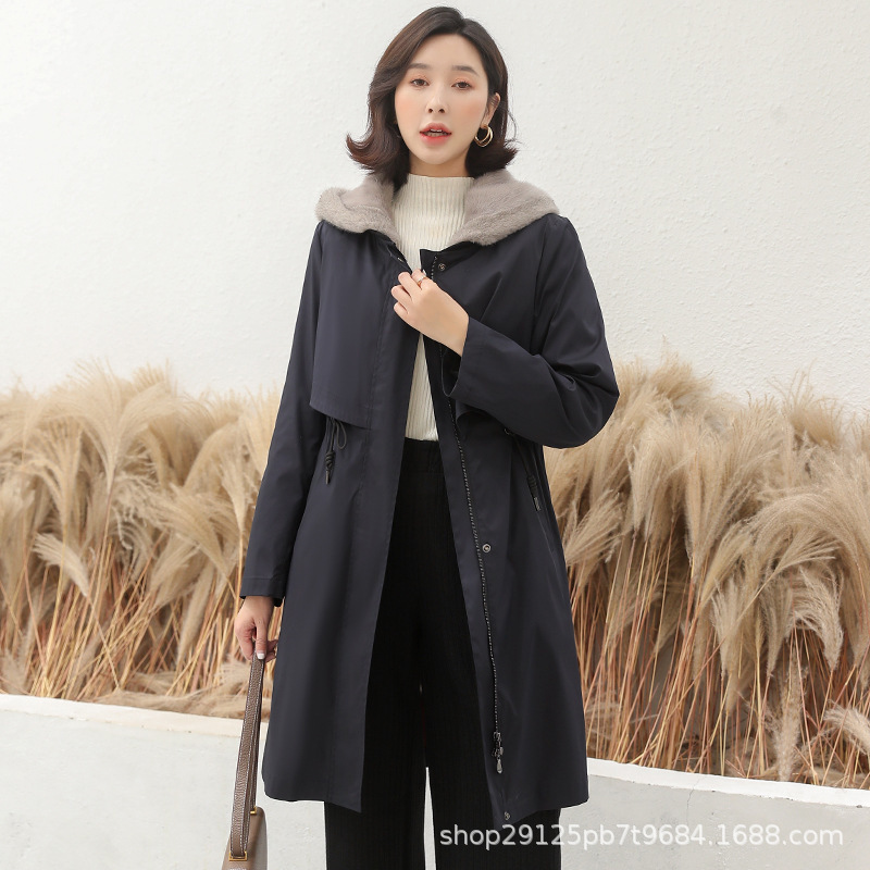 Mink Winter Coat Women Real Fur Parka Long Jacket Abrigos Mujer Invierno 2020 1924 YY1192