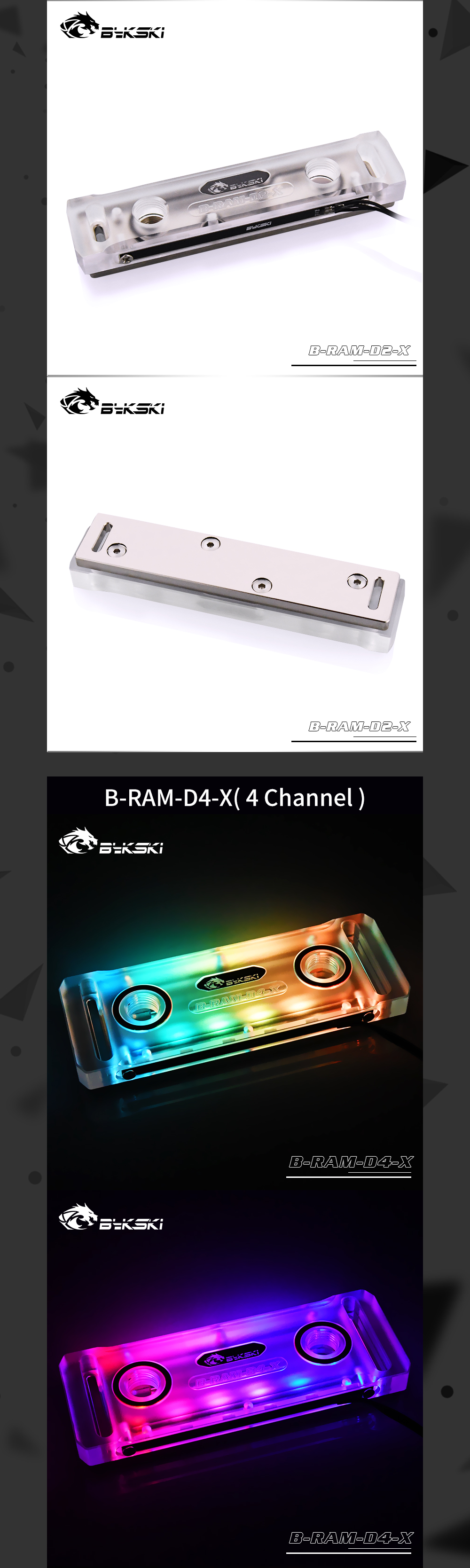 Bykski B-RAM-D2-X / B-RAM-D4-X RBW RGB Ram Water Block Acrylic Cover Support Two Ram Channel and Four Memory Channel