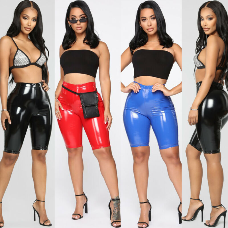 Women Wet Look Shiny PU Leather Capri Shorts Bodycon  Ladies High Waist Casual Cycling Biker Shorts Solid Summer Skinny