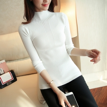 Fashion Solid White and Black Tops Sweaters 2020 Winter Long Sleeve Turtleneck Pullovers Womens Sweaters Femme Clothing 5218 7