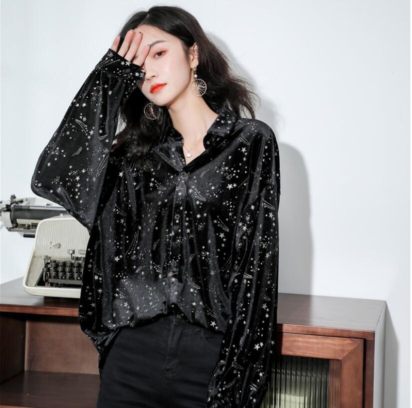 2019 Осень Зима Новая женская рубашка с принтом и отворотом блестящая свободная Модная рубашка с длинным рукавом размера плюс женская улична...