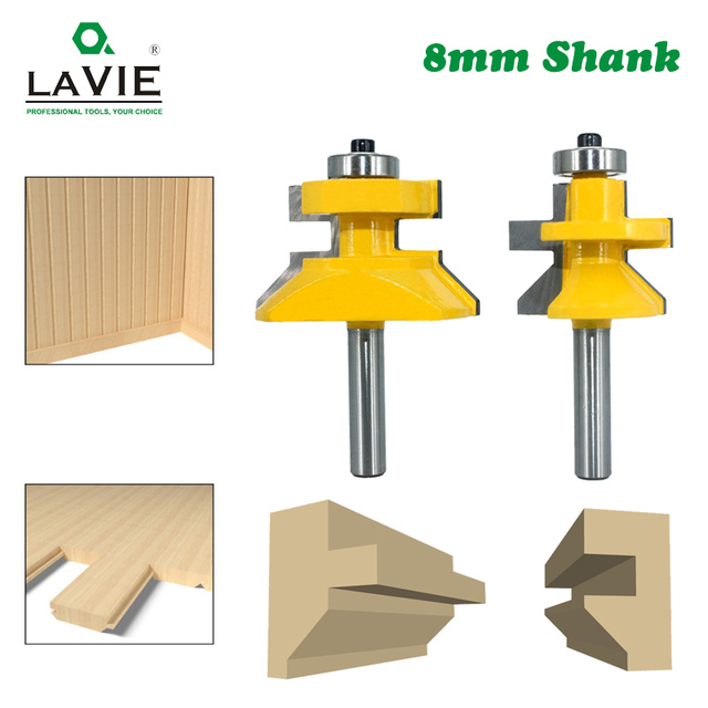 2pcs 8mm Shank 120 Degree Router Bit Set Woodworking Groove Cutters Tungsten Alloy Wood Tenon Milling Cutter Bits Tools 02122