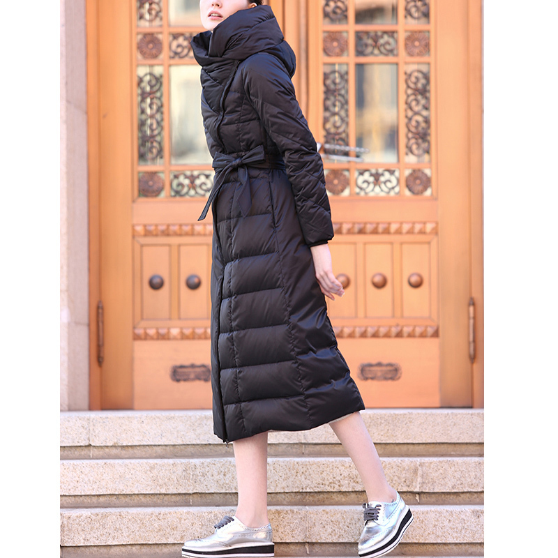 Down European Brand Coat Winter Jacket Women Black X-Long Slim Waist Thicken Warm White Duck Down Manteau Femme Coats XC039 S