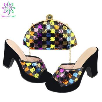 2020 dojrzałych kobiet buty i torby aby dopasować w kolorze afryki buty damskie i torby udekorować cekinami na ślub tanie i dobre opinie Venus Chan Pantofle Dziwne styl CN (pochodzenie) Futro Super Wysokiej (8cm-up) Pasuje prawda na wymiar weź swój normalny rozmiar