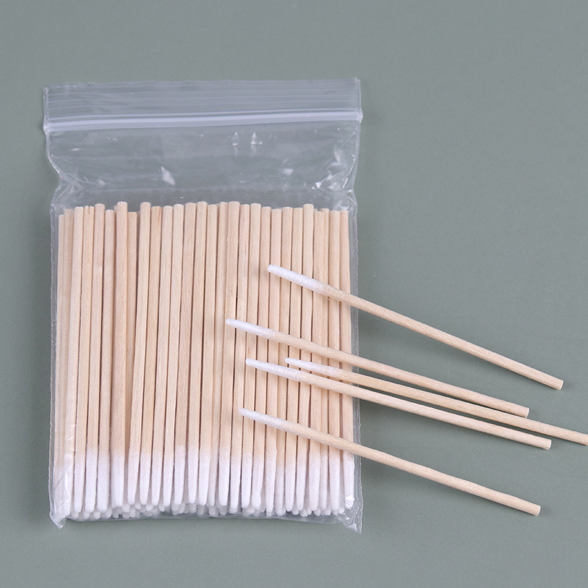 100PCS/Pack Wood Cotton Swab Cosmetics Health Supplies Ear Jewelry Clean Sticks Tip Head Wood Cotton Swab