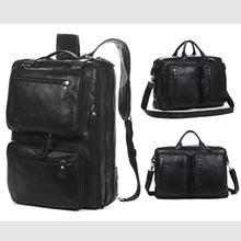 Mochila multifuncional de cuero genuino para hombre, morral escolar de moda para hombre, bolso de viaje, mochila grande de cuero negro