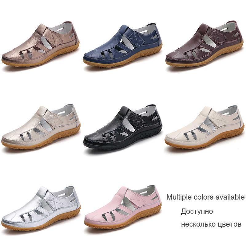EOFK yeni moda yaz kadın gladyatör sandalet bayanlar içi boş rahat rahat yumuşak alt hakiki deri düz plaj sandaletleri