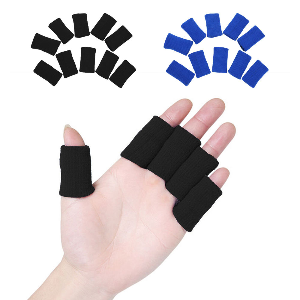 10pcs Sports Finger Cover Sweatband Stretchy Wrap Finger Sleeve Arthritis Support Volleyball Finger Protection
