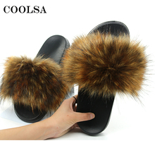Купить с кэшбэком New Women Fur Slippers Faux Fox Fur Slipper Fluffy Woman Raccoon Fur Slides Winter Warm Home Slipper Furry Flip Flop Plush Shoes