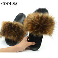 New Women Fur Slippers Faux Fox Fur Slipper Fluffy Woman Raccoon Fur Slides Winter Warm Home Slipper Furry Flip Flop Plush Shoes