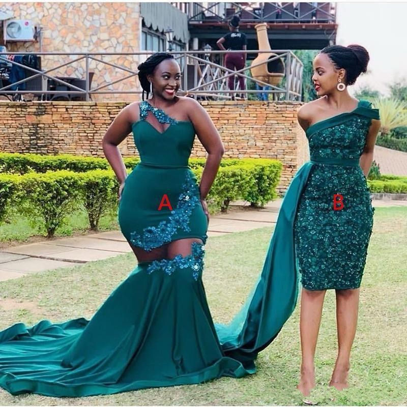 Two Styles Dark Green African Plus Size Mermaid Prom Dresses Lace Appliques One Shoulder Floor Length Formal Dress Evening Gowns