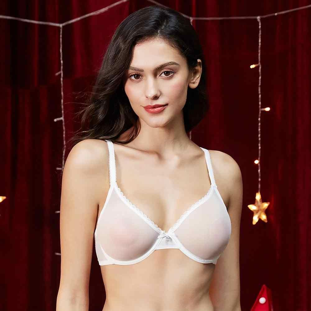 Mulher transparente ultra-fino sutiã sexy renda ver através de lingerie tamanhos grandes c d e cup para roupa interior feminina