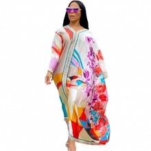 Boubou Africain Femme 2021 African Print Dashiki Clothes Plus Size Women Dress Batwing Sleeve Ankara Dresses Girl Party Dress