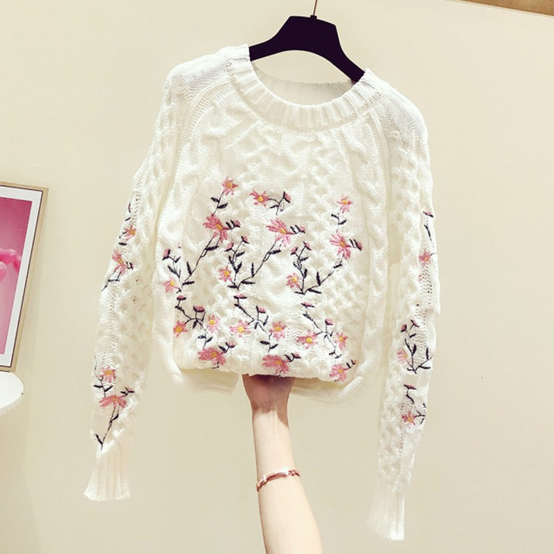 2020 Spring Autumn New Korean Sweet Hand-Embroidered Floral Round Neck Long Sleeve Sweater Women's Casual Knit Top White Sweater