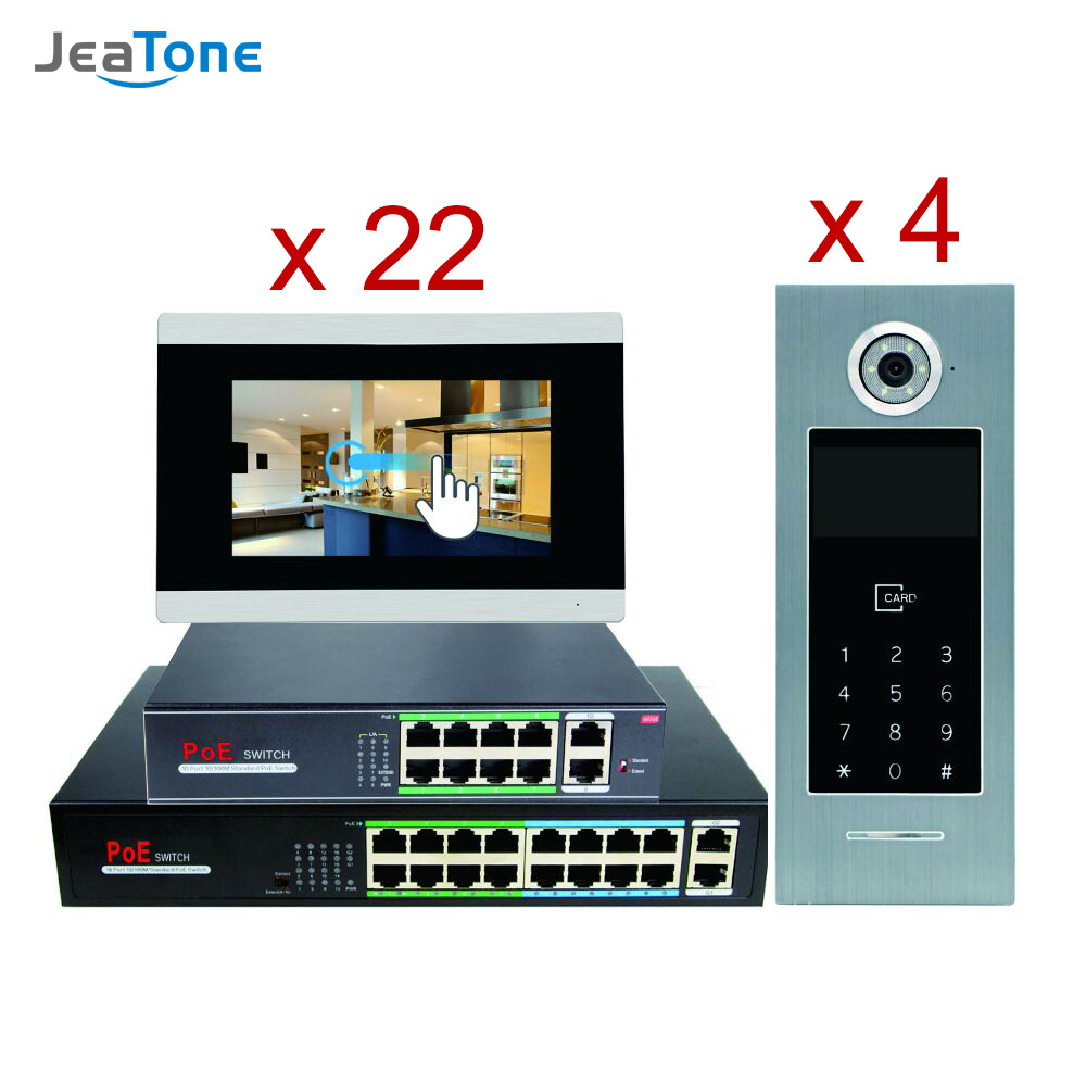 7'' Touch Screen WIFI IP Video Door Phone Intercom+POE Switch 22 Floors Building Access Control System Support Password/IC Card