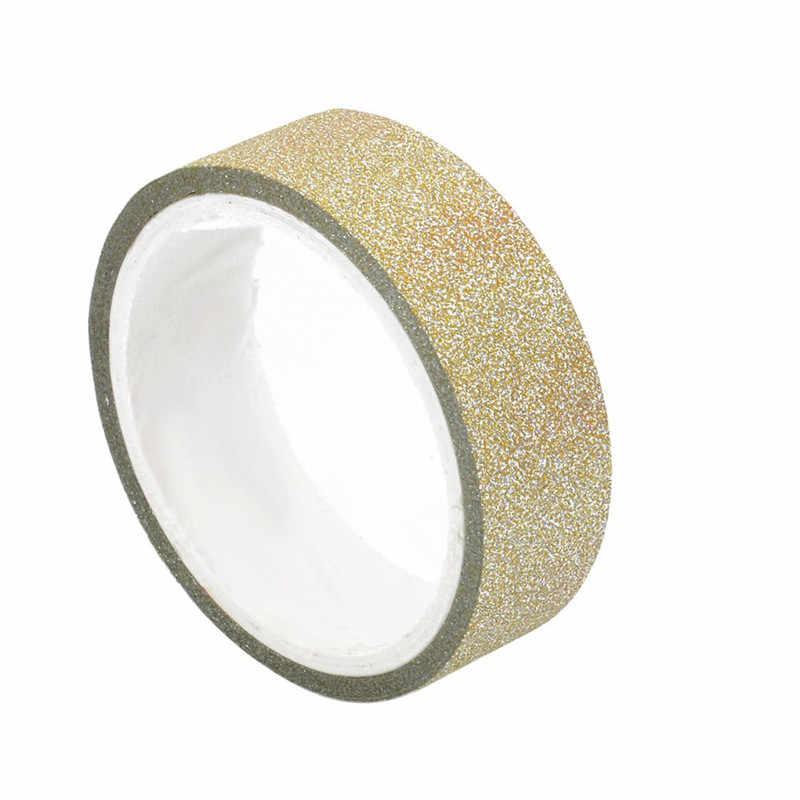 8 colores autoadhesivos brillo Washi cinta DIY Scrapbooking papel pegatinas para boda cumpleaños fiesta Decoración