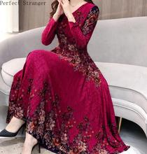 High Quality Hot Sale Plus Size S-3XL 2019 Spring New Arrival  Fashion V Collar Flower Printed Long Sleeve Woman Dress