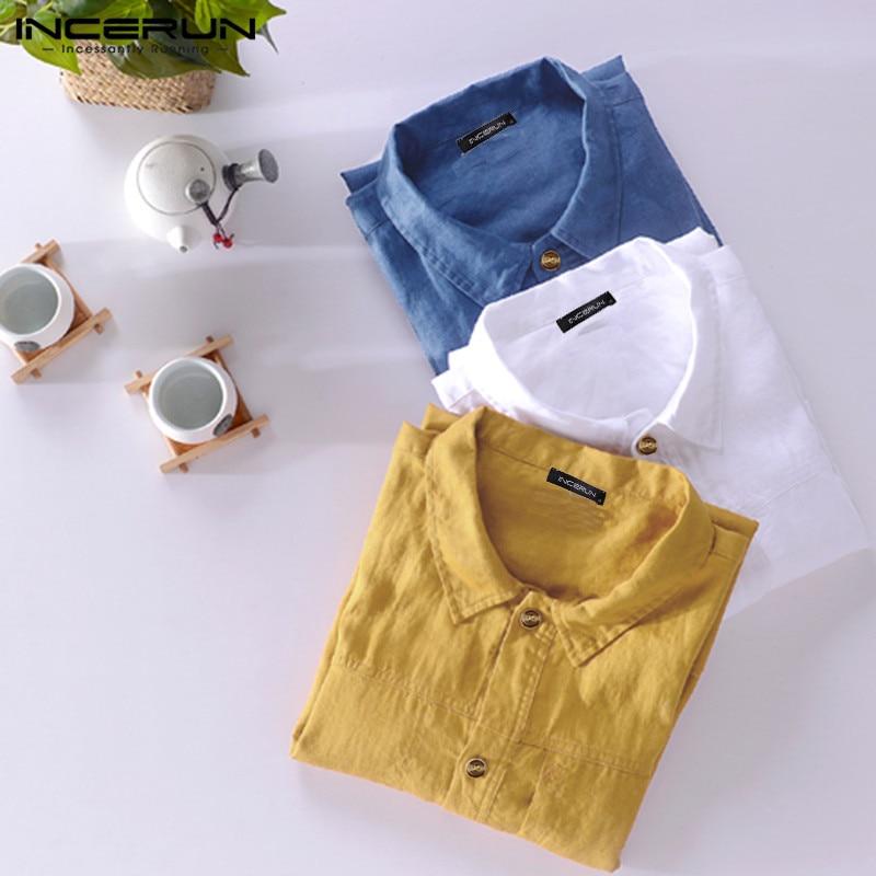 2020 Summer Men Solid Color Shirt Turn-down Collar Casual Streetwear Short Sleeve Tops Cotton Button Harajuku Shirts Hombre 5XL