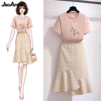2021 Summer Korean Sweet Pink T-shirt Skirts Suit Women Fashion Asymmetry Dress Girls Leisure O-Neck Short Sleeve Clothing Set 1