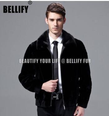 Cool Black Color Wholeskins Natural Mink Fur Jackets And Coats For Men   Business Formal Handsome Male Real Mink Fur Coats