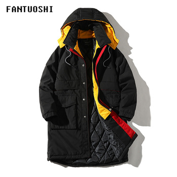 Winter fashion long Windproof coat 2019 cotton jacket Hoodies clothing Fake two-piece stitching coats warm thick Parker coat