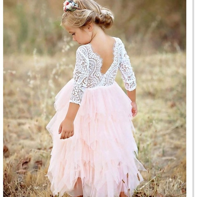 Toddler Kids Baby Girls Summer White Dresses Long Sleeve Party Prom Costume Girl Pageant Dancing Frocks Lace Tutu Layered Dress 3