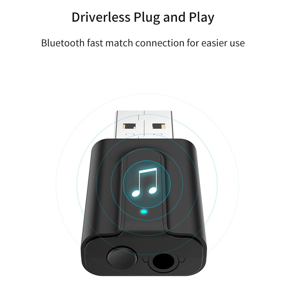 USB Wireless Adapter Bluetooth 5.0 Audio Stereo Receiver with mic for PC `US