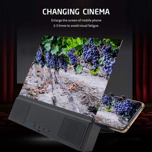 Image 4 - 12 Inch 3D Di Động Thiết Bị Phóng To Màn Hình Điện Thoại Với Loa Bluetooth HD Kính Phóng Đại Đế Cho Màn Hình Video Mở Rộng Giá Đỡ Điện Thoại