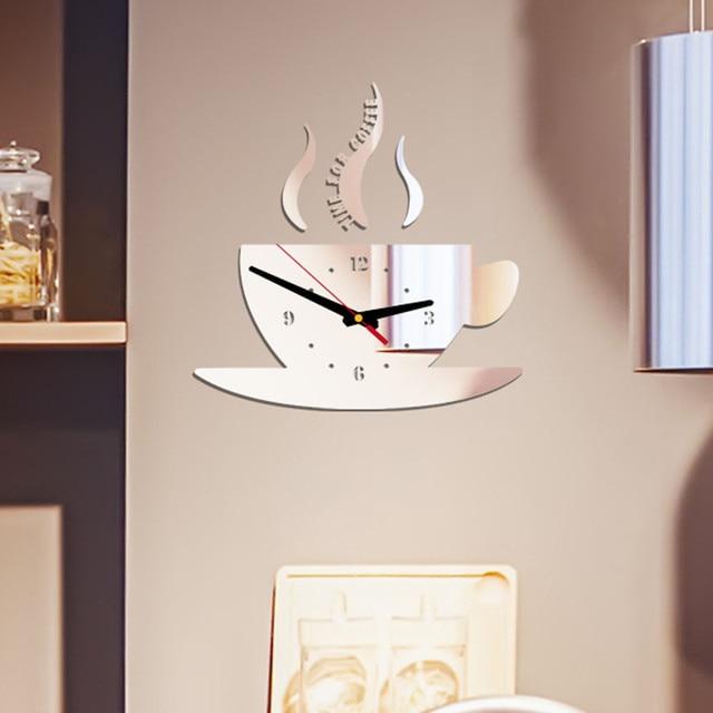 Coffee Shape Removable Diy Acrylic 3d Mirror Wall Sticker Decorative Clock Wall Clock Quartz Watch Reloj De Pared Living Room 1