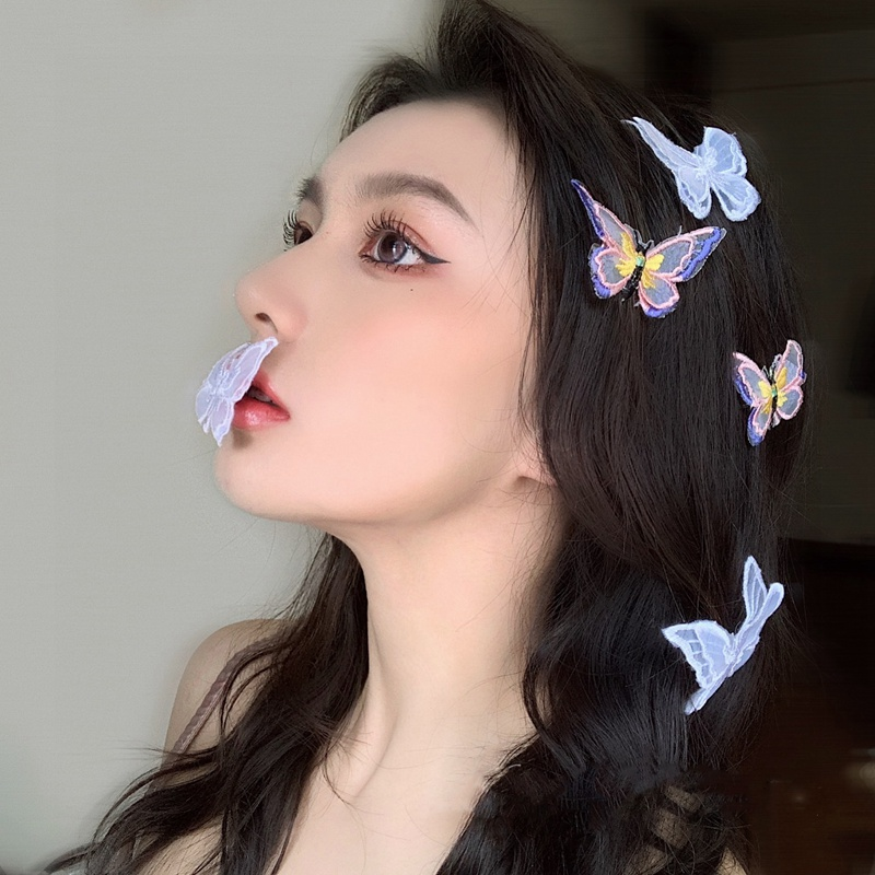 MENGJIQIAO New Handmade Colorful Gauze Butterfly Hairpins Elegant Hair Clips For Women Fashion Summer Holiday Hair Accessories