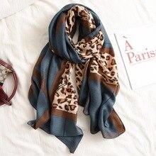 Bufanda de marca de lujo para otoño e invierno, chal de algodón de lino y leopardo para mujer, Pashmina suave, bufandas musulmanas, hijab, abrigo de capa, silenciador