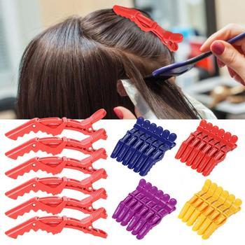 6 uds pinza de pelo para el hogar Barbero antideslizante de una sola punta sección de peluquería pinza para el pelo broches Barrette salón herramientas para estirar el cabello