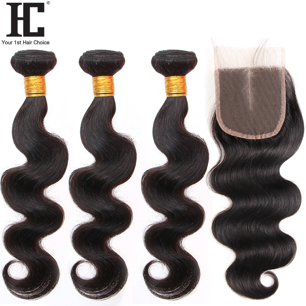HC Brazillian Body Wave Bundles With Closure Human Hair Weave 3 Bundles With 4x4 Lace Closure Bleached Knots Non Remy 4 Pcs/lot