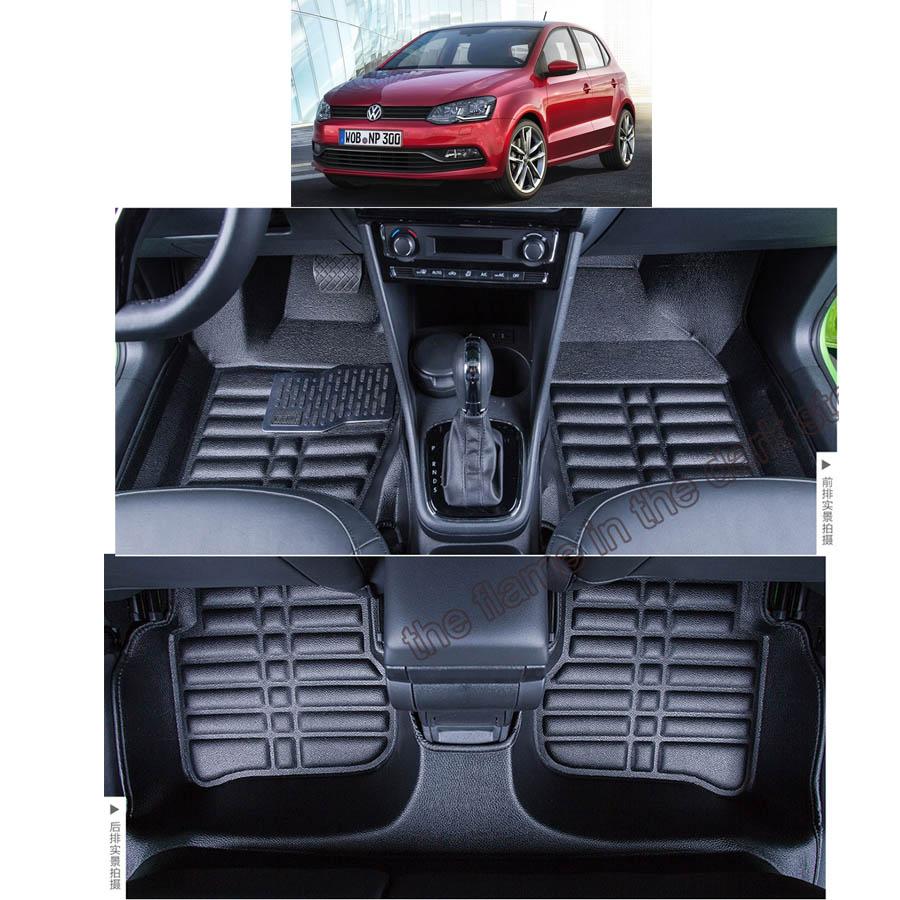 lsrtw2017 leather car floor mats for Volkswagen polo vw 2009 2017 2016 2015 2014 2013 2012 2011 2010 2018 2007 2006 carpet sedan