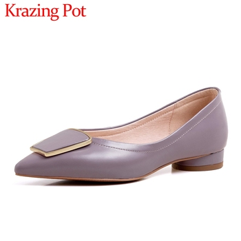 Krazing pot hot saling solid natural leather pointed toe low heel shoes women mature office lady shallow slip on women pumps L18
