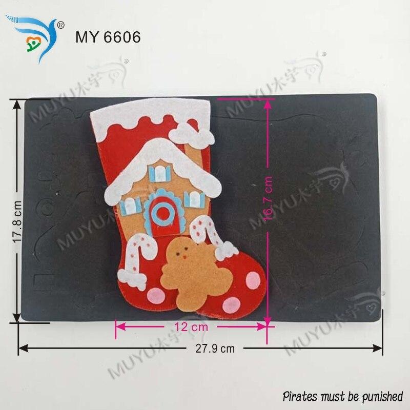 크리스마스 스타킹 diy 수동 다이 컷 보드 교육 나무 금형 만들기 스크랩북 my6606-에서절단 다이스부터 홈 & 가든 의  그룹 1