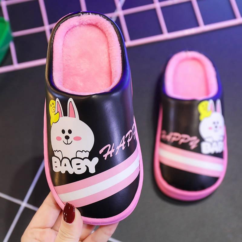 2019 Winter Kids Slippers Cartoon Pu Home Slippers Children Shoes Girls Warm Plush Indoor Non-slip Boys Flip Flops Floor Shoes