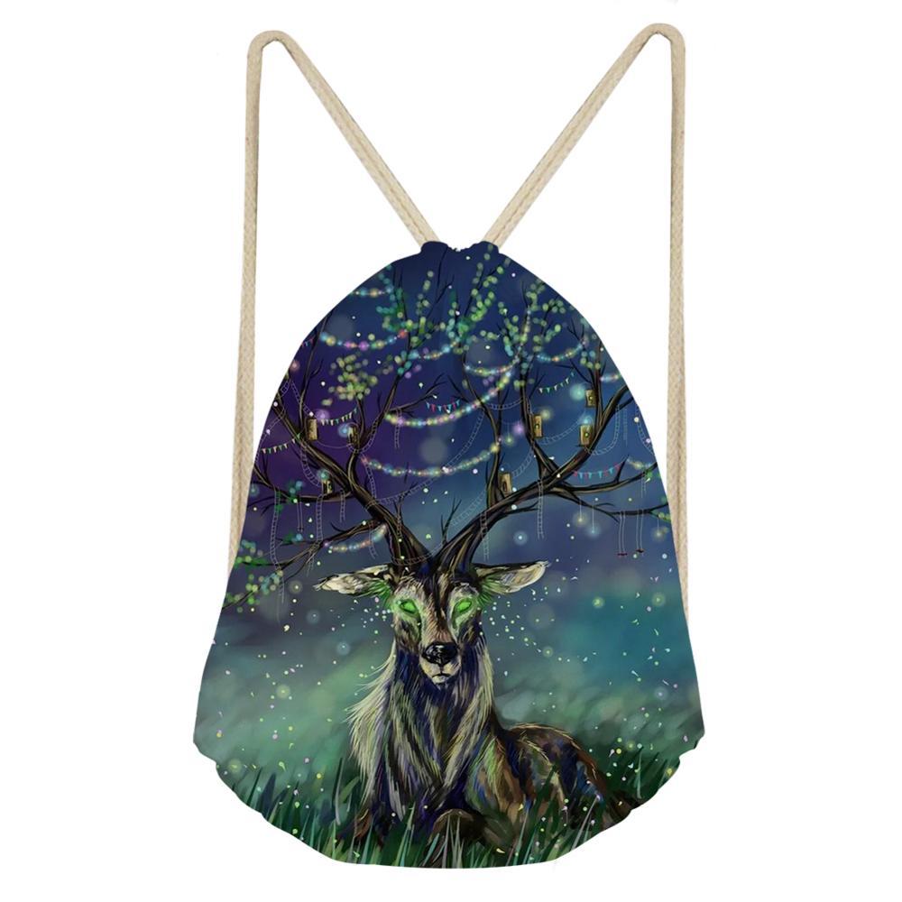 HaoYun Fashion Women's Travel Drawstring Backpack Fantasy Deer Pattern Beach Shoes Pockets Girls Mini Organizer Bag 2019 New