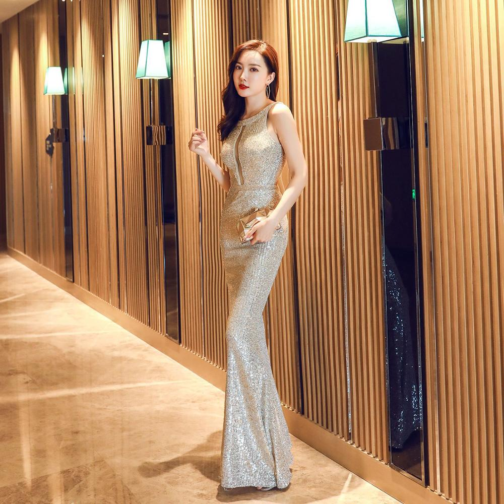 Sladuo Women Sexy Blackless Luxury Sequin Sleeveless Celebrity Mermaid Dresses Cocktail Slim Evening Party Banquet Dress image