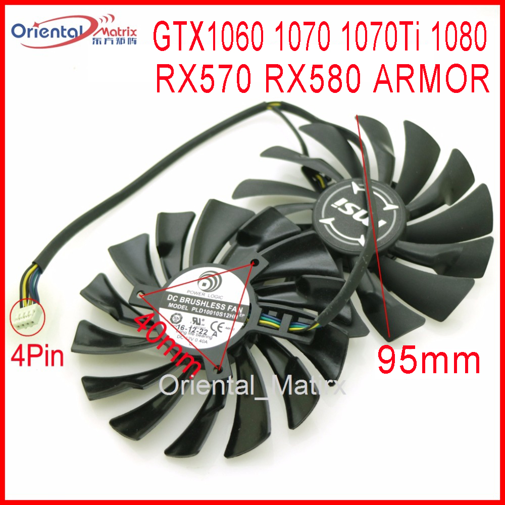 Free Shipping 2pcs/lot PLD10010S12HH DC12V 0.40A 95mm 4Pin For MSI GTX1060 1070 1070Ti 1080 RX570 RX580 ARMOR Graphics Card Fan image