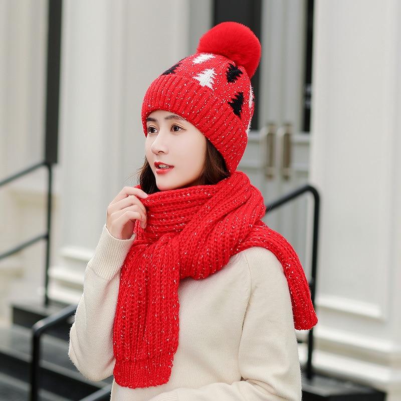 Winter Hat Scarf Gloves Set Warm Three Sets Women Men Plus Velvet Thickening  Knitted Wool Women Ball Caps Scarf And Hat Girls