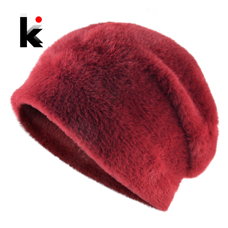Winter Beanie Women Solid Color Faux Fur Hats For Ladies Knitted Imitate Wool Bonnet Cap High Quality Female Skullies Beanies