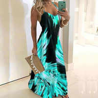 Blau Rot Schlank Blume Drucken Kleid Sexy Spaghetti Strap Sleeveless Frauen Lange Kleid Sommer Strand Druck Kleider Plus Größe 5XL