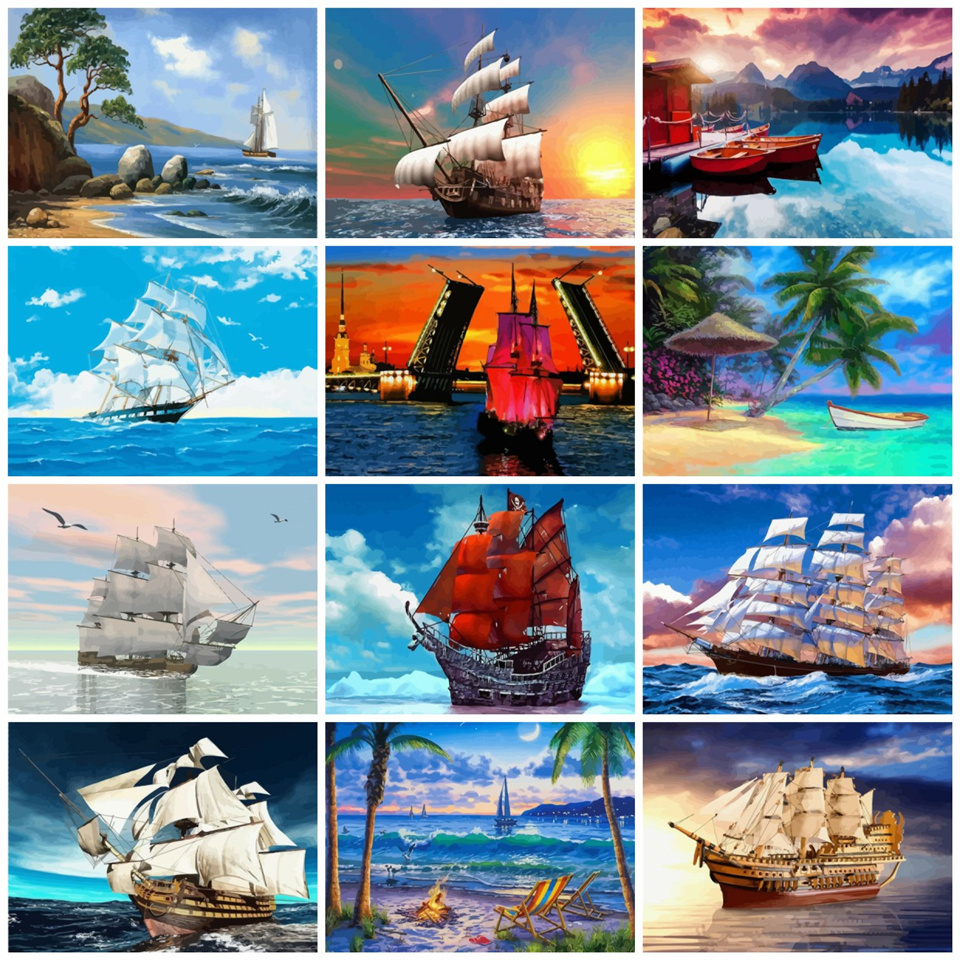 AZQSD 50x40cm Paints By Numbers Scenery Pictures Oil Drawing By Numbers Ship Home Decoration Full Set Coloring By Numbers