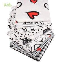 Tissu en coton sergé imprimé, monde noir et blanc, vêtements Patchwork pour bricolage, couture, matelassage, matériel pour bébé et enfants, 9 pièces 40x50cm