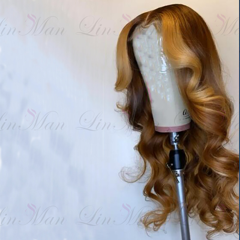 Honey Brown Lace Front Wigs With Pre Plucked Hairline Brazilian Remy Hair Wave Lace Front Human Hair Wig With Baby Hair