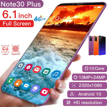 Note30 Plus Smartphone 6.1 Inch Dual SIM Smart Phone 4G Facial Unlocking 13MP+24MP Mobile Phone US Plug EU Plug 1