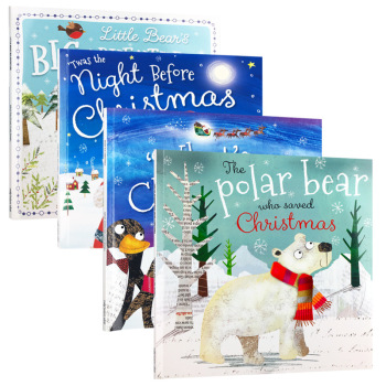 4 Books My Christmas English book baby Picture Story Book Cognitive Early Education Stories Books For Kids Toddlers Age 3 to 6