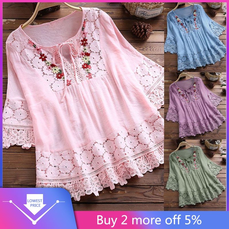 Womens Tops And Blouses Vintage Lace Patchwork Bow V-Neck Three Quarter Blouses Top Shirt рубашка женская Blusas Mujer De Moda