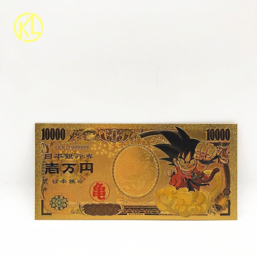Лидер продаж 1 шт. Японский дракон мультфильм 10000 иен Золотая пластиковая банкнота для классической коллекции памяти детства